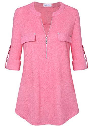 Bulotus Tunic Tops for Leggings for Women Plus Size Shirts (X-Large, Pink)