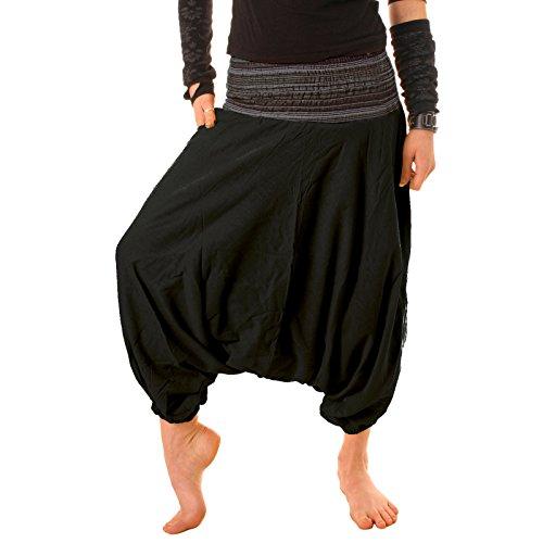 Vishes – Alternative Bekleidung – Leichte Kurze Dreiviertel Baumwoll Haremshose - elastischer gesmokter Bund auch für Kinder Schwarz