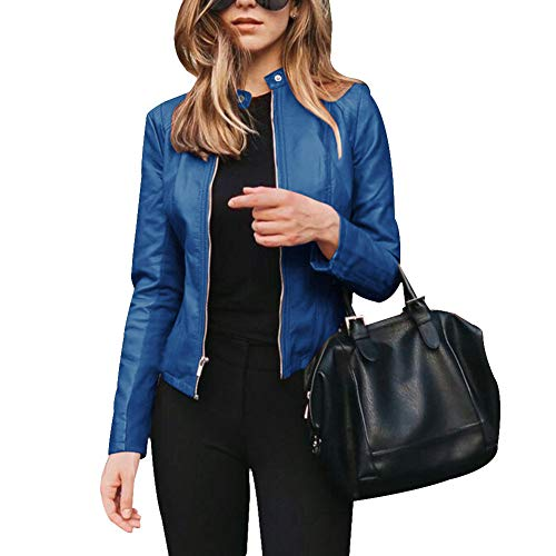 Suppyfly Women PU Leather Blazer Jackets Zippers Stand Collar Office Fashion Coat Outerwear