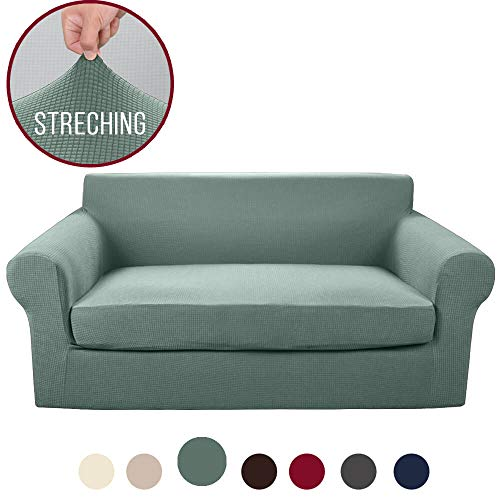Vailge 2-Piece High Stretch Jacquard Loveseat Cover, Durable Loveseat Slipcover with Separate Cushion Cover, Machine Washable Loveseat Protector for Dogs,Kids,Pets(Loveseat:Sage)