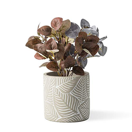 DOMDO Cement Planter Pot 5.5 Inches Vintage Indoor Plants Flowerpot Containers Unglazed Medium Bonsai Concrete Clay with Drain Hole, Leaves Embossment - Original Gray