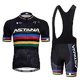 AioTio Conjunto de Ropa Ciclismo Hombre Verano Maillot Ciclismo Mangas Cortas y Tirantes Culotte Pantalones Cortos con...