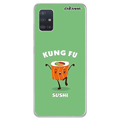 dakanna Transparent Hülle für [Samsung Galaxy A51] Flexible Schutzhülle, Design Kung Fu Sushi Essen, Klar TPU Hülle Cover Handyhülle Kompatibel mit Samsung Galaxy A51