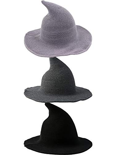 Cotiny 3 Pack Halloween Witch Hat Kinitted Wool Witch Hat Wizard Hat for Women Large Brim Crochet Cap for Halloween Party Cosplay Costume Accessory (Color set 4)
