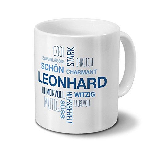 Tasse mit Namen Leonhard Positive Eigenschaften Tagcloud - Blau - Namenstasse, Kaffeebecher, Mug, Becher, Kaffeetasse