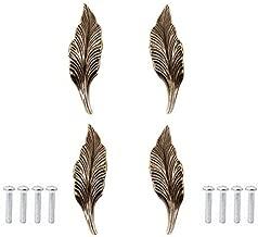 Pack of 4 Bronze Long Leaf Shape Drawer Knobs and Pulls Knobs Handles for Kitchen Furniture Door Drawer Cabinet Dresser Closet Wardrobe Cupboard Bathroom(5.12'' x 1.38''x 0.95'')