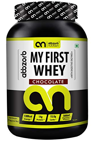 Abbzorb Nutrition My First Whey Beginner's Protein with Vitamins (B,C,D)   Minerals (Calcium, Iron, Zinc)   Protein 14g   Carbs 15.6g with Digestive Enzymes (Chocolate, 1 Kg)