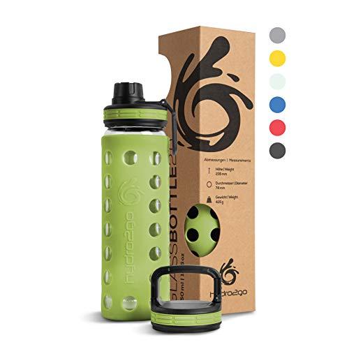 hydro2go® Trinkflasche aus Glas mit Silikonhülle 550 ml - spülmaschinenfest | 2 auswechselbare Deckel | 100% Auslaufsicher BPA-frei - Glasflasche für Kinder, Büro, Fitness, Yoga, Sport & Outdoor