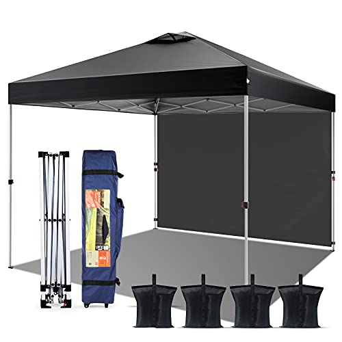 Pop-up Canopy Tent 10' x 10', Outdoor Canopy Instant Shelter with 1 Sidewall, 4 Sand Bags, 1 Wheel-Bag and Other Accessories, Lightweight Camping Canopy Easy Set-up for Party/Exhibition/Picnic, Black