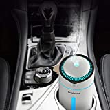 CACAGOO Car Humidifier Car Diffuser Cool Mist Air Refresher 300mL USB Ultrasonic Humidifier with 7 Colorful LED Lights, Waterless Auto Shut-Off, for Car Travel Office Baby Room (BPA Free)