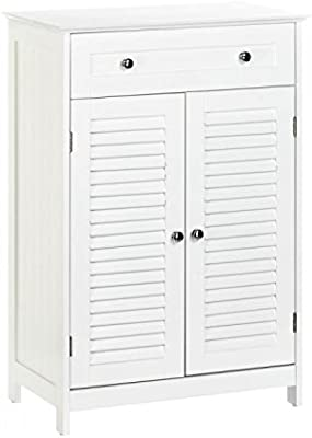 White Slatted Double-Door Floor Cabinet