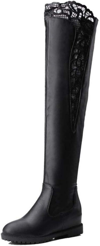 Winter Thigh höga stövlar mode Zipper Fur kvinnor Warm skor skor skor Brodery Flats Damerna Sexy Party skor  incitament främjande