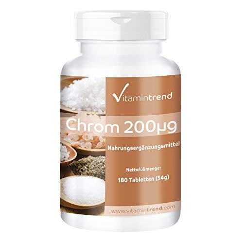 Cromo picolinato 200 mcg - 180 compresse - Per 6 mesi - Vegan