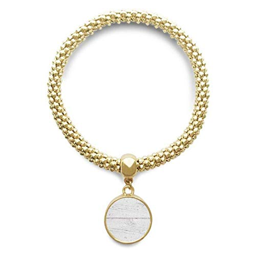 DIYthinker Womens witte houten vloer ruw behang textuur gouden armband ronde hanger sieraden ketting