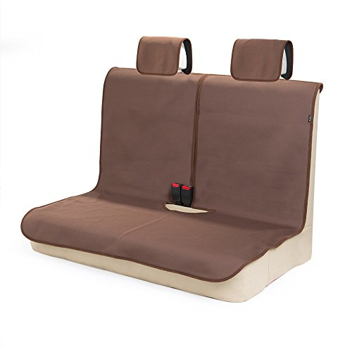 TanYooカーシートカバー 防水 後席用 軽自動車適用 ずれにくい SBRボンディング シート保護 ブラウン(ヘッドレストカバー付き)