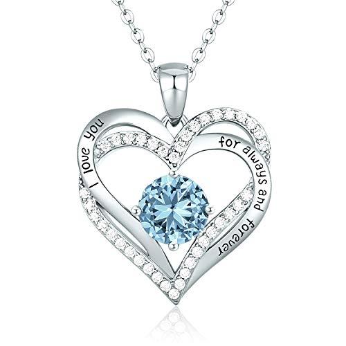 CDE 925 Sterling Silber Roségold Herz Halskette, 5A Zirkonia Birthstone Anhänger Kette Damen Muttertag Schmuck Geschenk mit Box (Sterlingsilber März)