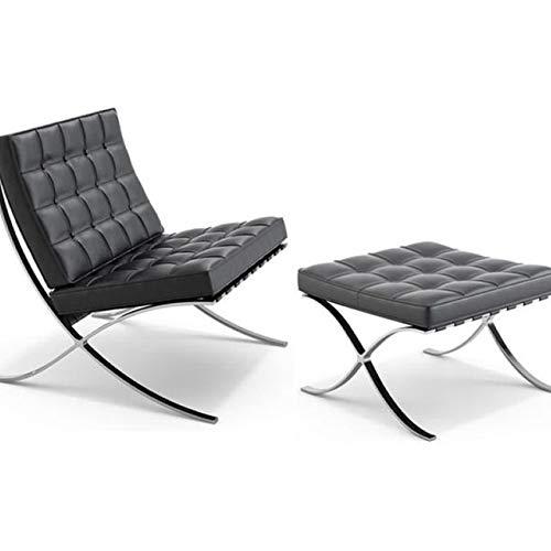 Ding Moderna del sillón con otomana clásico pabellón de exposiciones Negro Grano Superior for sillas de Cuero Genuino con el Banco