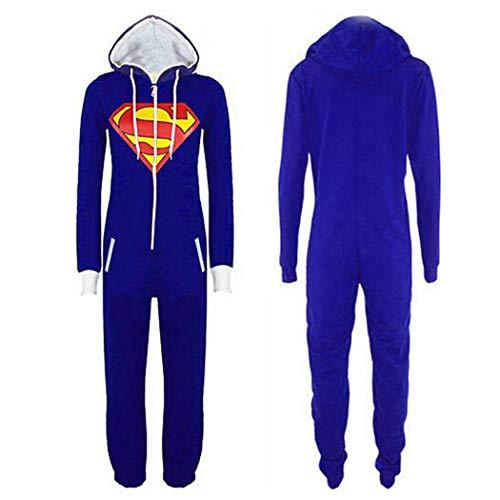 Pijamas de una Pieza Jumpsuit For Hombre Mujer Unisex Batman Superman Adulto Mono De Una Sola Pieza Onesie Pijamas Imprimir Capucha Y Cremallera Frontal Azul (Color : Blue Superman, Size : XL)
