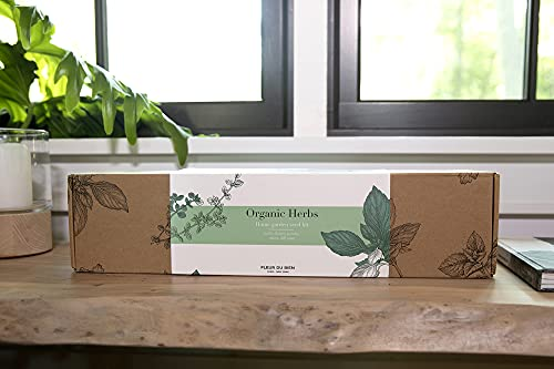 FLEUR-DU-BIEN-Indoor-Herb-Garden-Kit-with-Planter-Grow-own-Herbs-Window-Gardening-Set-Plant-Markers-Growing-Pots-Soil-Discs-and-Non-GMO-Herbs-Seeds-Gardening-Gift-with-Manual