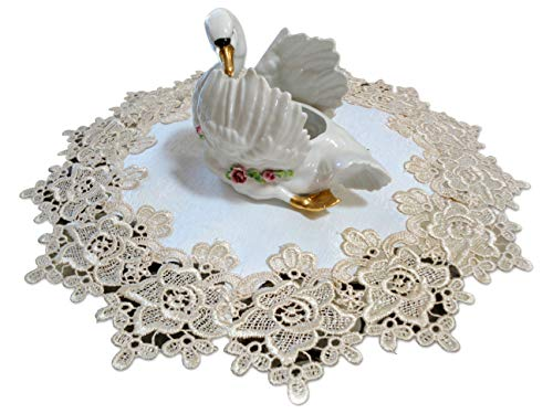 "Galleria di Giovanni 16"" Rose Lace Soft Gold & White Ivory Doily Vintage Design"