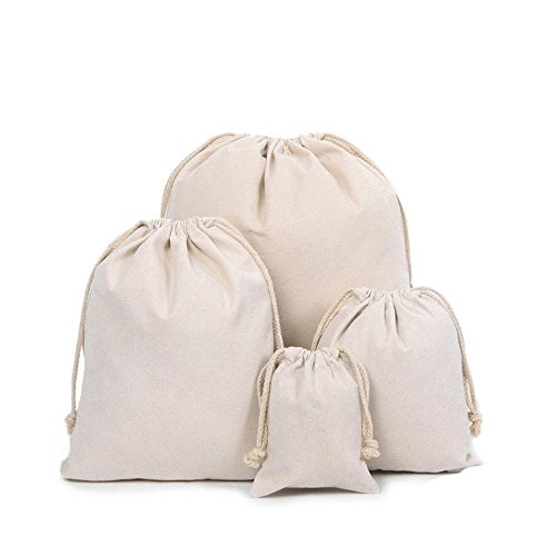 Z-synka Organic Cotton Muslin Produce Bags,Biodegradable Eco-Friendly Bags, Home and Vegetable Storage, Canvas Tote,Travel Pouch Linen Bag,Gift Bags,Sachet Bags,Cotton Bag (Large (12x16') - 6 Pack)