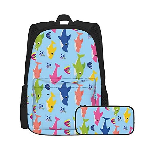 Set di zaino e astuccio, borsa per computer portatile e astuccio combinazione, zaino da lavoro e studio e borsa cosmetica combinazione Shark Family Musical ruotato