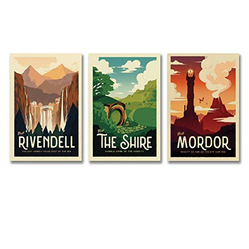 Lord of The Rings Retro Travel Posters - Set of 3 Bundle - LOTR Vintage Poster Prints Decor Gift Canvas Wall Art For Room Decor Family Bedroom Bathroom Aesthetic Poster 12x18inch(30x45cm)-3pcs
