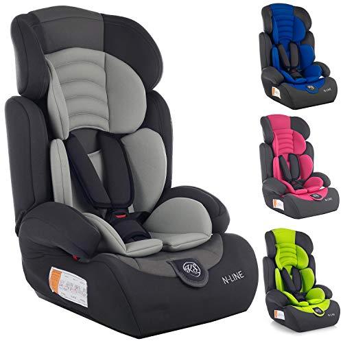 Autokindersitz Autositz Kinderautositz mit Extrapolster Kids 9-36 kg 1+2+3 ECE 4 Farben NEU Kindersafety NEU + ECE R44/04 geprüft, Farben zur Auswahl 5-Punkte-Sicherheitsgurt Kopfstütze (KP0101GRY)