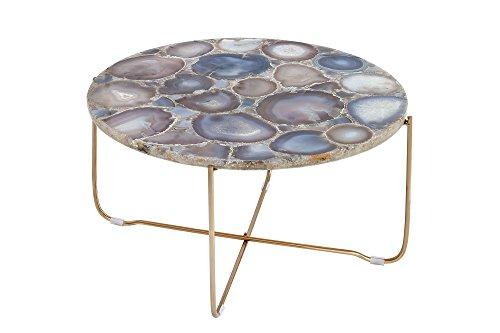 DuNord Design salontafel KRETA 60 cm blauw agaat stenen metaal salontafel stenen tafel natuursteen woonkamertafel