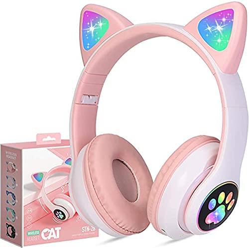HRTX Auriculares Bluetooth con Orejas de Gato, Luces LED, inalámbricos, micrófono y Control de Volumen, adecuados para iPhone/iPad/teléfono Inteligente/computadora portátil/PC/TV Rosa y Verde