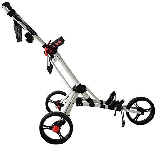 Chariot de golf pliable à 3 roues avec traction et roue avant pivotante à 360 ° et porte-parapluie / porte-boisson pour le voyage en plein air Sport une seconde pour ouvrir et fermer le chariot pliant