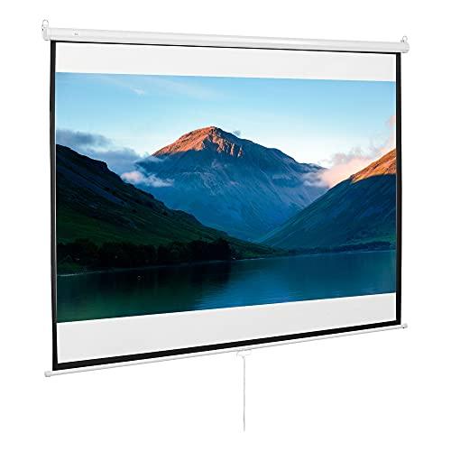 HOMCOM Schermo di Proiezione 100 Pollici Regolabile Ottimo Contrasto Tessuto Metallo 203 x 152 cm Bianco Nero