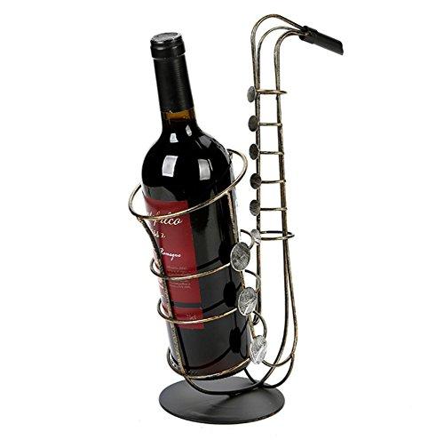 QI6 Vintage handgefertigte Eisen Ornamente Wohnzimmer Weinflasche Rack Trauben Weinregal Saxophon Weinregal Eisen Kunst Handwerk