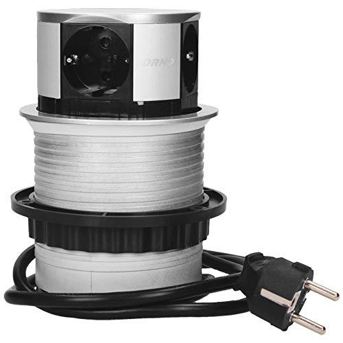 ORNO OR-AE-1341(GS) Versenkbare Einbau Steckdosenleiste 4-fach, 3680W, Ø10cm Anschlussfertig mit 1,5m Schuko kabellänge