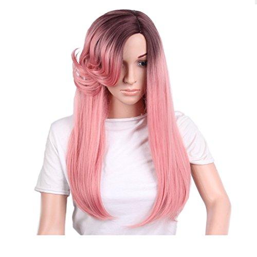 Pelucas de reemplazo de cabello 26 pulgadas de fibra química pelucas de pelo for las mujeres largas rectas de color degradado natural rosa rosa pelucas con Long Roll Bangs pelucas for Cosplay/fiesta