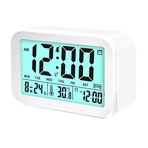 TUANTALL digital Uhr wecker mit licht Nachttischuhr Digitalwecker am Bett Schlafzimmer Uhr digitaler Radiowecker Wecker am Bett LED Uhr Licht Wecker Kinderuhr White