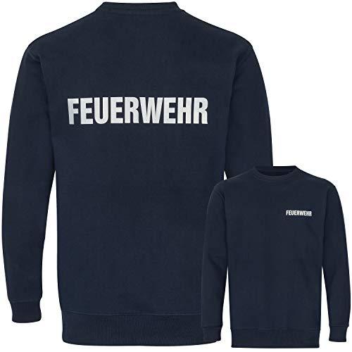 PACOTEX Feuerwehr Premium Sweatshirt Herren 220g/m² Workwear Qualität mit beidseitigem, reflektierenden Aufdruck (Marineblau, XL)