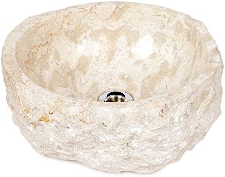 Wohnfreuden Naturstein Marmor - Waschbecken ca 35 cm rund gehmmert