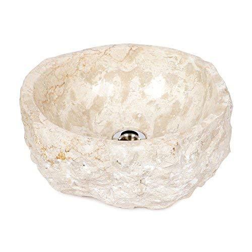 wohnfreuden Naturstein Marmor - Waschbecken ca 35 cm rund gehämmert mit Unikatauswahl nach Kauf in der Bildergalerie