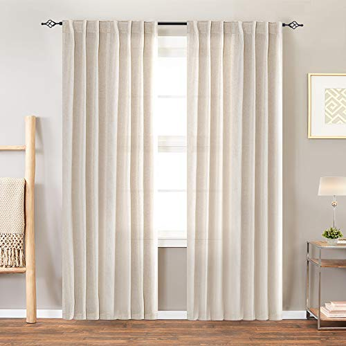 jinchan Linen Textured Curtains for Bedroom Drapes Rod Pocket Back Tab Linen Blend Curtain Panels Window Treatments for Living Room Patio Door 1 Pair 84 Inches Crude