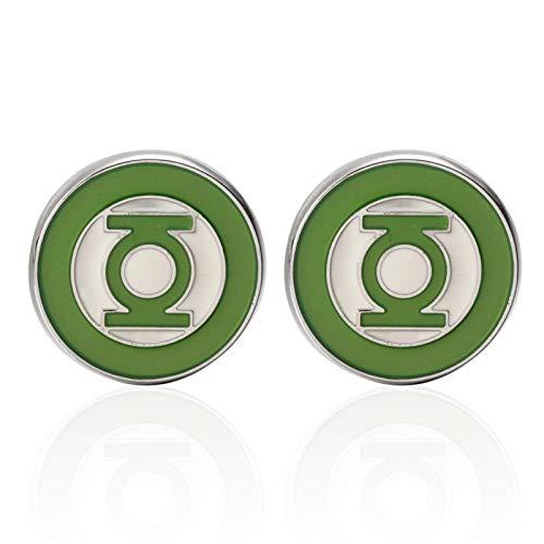QFERW Manschettenknöpfe Luxus Hemd Green Lantern Manschettenknopf für Herren Marke Manschettenknöpfe Manschettenknöpfe Hochwertiger Schmuck, grün