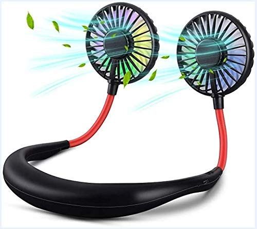 Portable Hanging Neck Sports Fan, Hands Free USB Rechargeable Personal Wearable Neckband Fan Battery Operated with 3 Level Air Flow Headphone Design for Travel Outdoor Office Home Sports