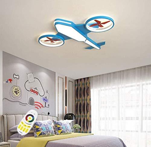 Deckenleuchte Für Kinder Deckenlampe Flugzeug Schlafzimmerlampe LED Babylampe Kinderzimmer Deckenlampe Babylampe Moderne Kinderlampe Fernbedienung Dimmlüster,Blau,L