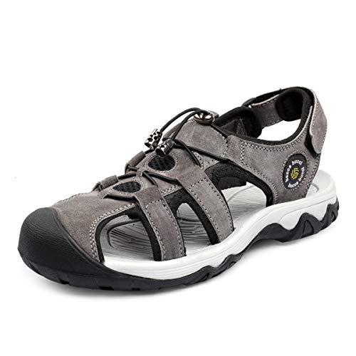 Bacca Bucci® Men Sports Sandals Closed Toe Fisherman Suede Adjustable Heel Strap Slip on Sandal-Grey