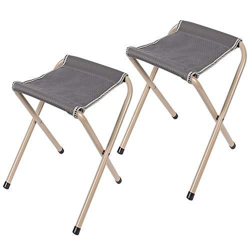 REDCAMP 2-Pack Folding Camp Stools for Adults, 15-inch Tall Sturdy Heavy Duty Portable Camping Stools for Fishing Sitting, Hold 300lbs Heavy People and Kids