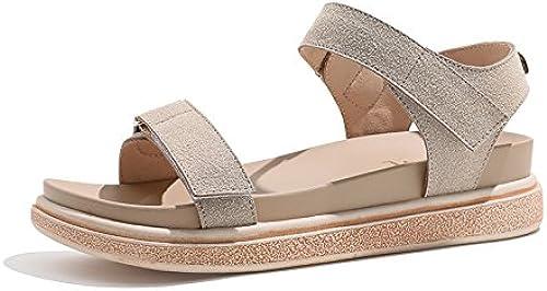 YMFIE été Nouvelle Mode décontractée rétro Sandales à Bout Ouvert Mesdames Confortables Chaussures de Plage Plates antidérapantes