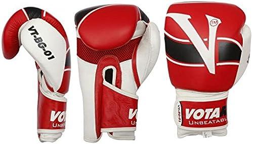VOTARY Gants de boxe en cuir rouges-12oz.