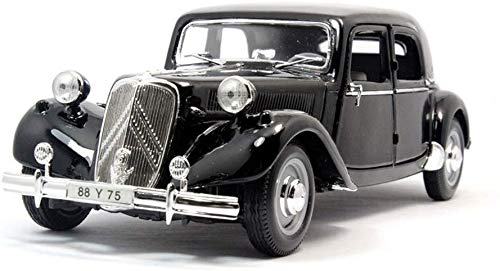 L.HPT Kinderspielzeug Legierung Auto Druckguss Automodellsimulation 1:18 Verhältnis Ca.r Modell 1952 Citroen 15CV Citroen Modell Geschenk für Jungen, Kleinkinder, Kinder (Farbe: SCHWARZ)