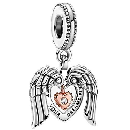 Pandora 925 plata esterlina DIY colgante joyas s alas de ángel y amor encanto ajuste mm pulsera haciendo joyería de moda para las mujeres