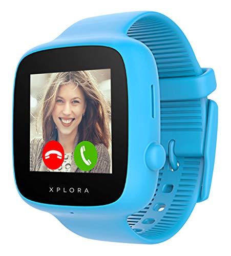 XPLORA GO - Teléfono reloj para niños (SIM no incluida) - Llamadas, mensajes, modo colegio, botón SOS, localizador GPS, cámara y podómetro - Incluye 2 años de garantía (AZUL)